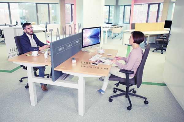 bureau réglable en hauteur électrique double
